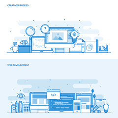 Flat line color concept- Creative Process and Web Development