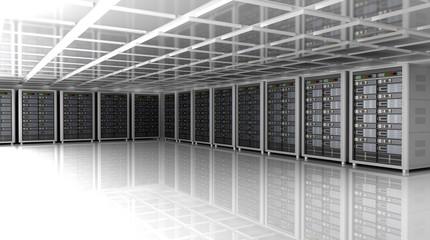 Modern interior of server room in datacenter, 3D illustration