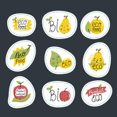 Eco and bio food labels set isolated on black background. Natural products round stickers with fruit characters for organic foods shop, vegan cafe, restaurant, eco bar. Healthy eating concept.
