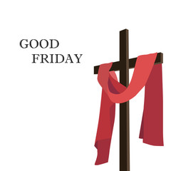 Wooden Cross and red fabric. Good Friday