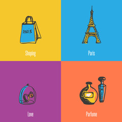 French national, cultural, fashion, architectural symbols. Eiffel tower, shopping bag, ring with diamond under glass, bottles of perfume icons with caption vector illustrations on colored backgrounds