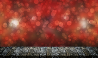 table with bokeh background