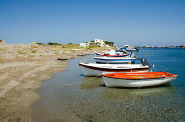 Tranquil scene os small fisherboats at the harbor of Skyros isla