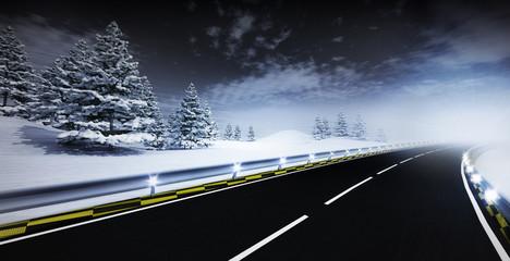 motorway leading through calm winter landscape