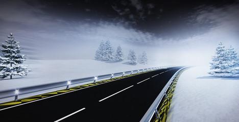 highway leading through calm winter landscape
