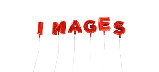 IMAGES - word made from red foil balloons - 3D rendered.  Can be used for an online banner ad or a print postcard.