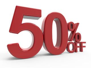 3d rendering of a 50% symbol