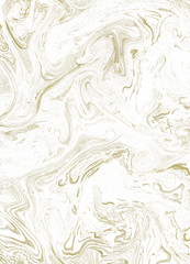 Creative hand made gilded texture on the white marble.