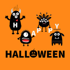 Black monsters holding letters. Happy Halloween. Text with pumpkin. Cute cartoon scary silhouette character. Baby collection. Orange background. Greeting card. Flat design.