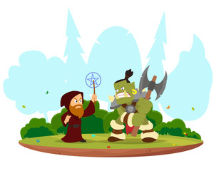 fantasy battle between the magician and orc.