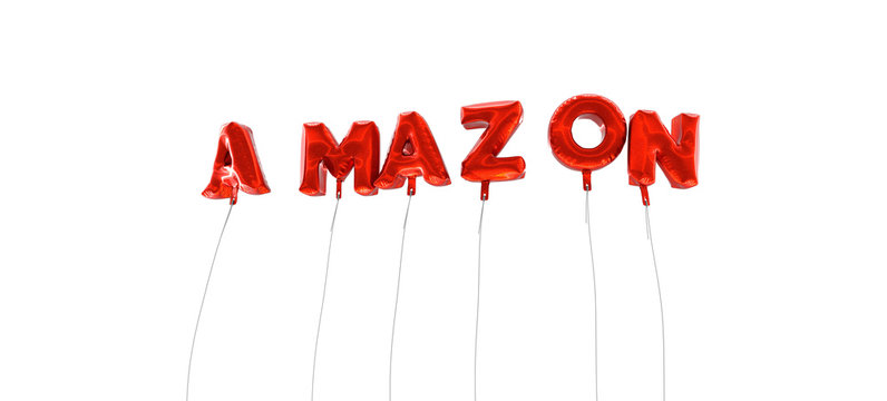 AMAZON - word made from red foil balloons - 3D rendered.  Can be used for an online banner ad or a print postcard.