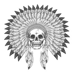 Native american indian apache skull with indian feather headdress vector illustration