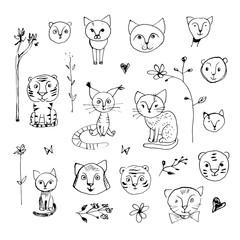 Ink sloppy doodle cat and tiger set.