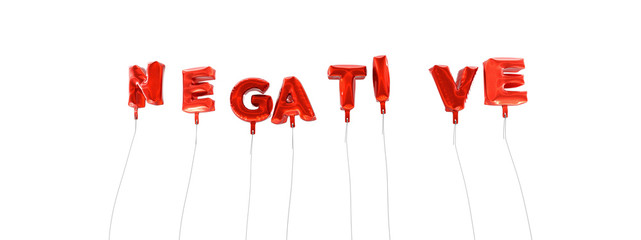 NEGATIVE - word made from red foil balloons - 3D rendered.  Can be used for an online banner ad or a print postcard.