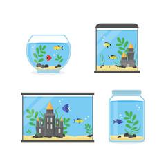 Glass Aquarium Set for Interior Home. Vector