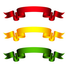 Red, Yellow and Green Ribbons Isolated on White Background, Banners, Vector Illustration