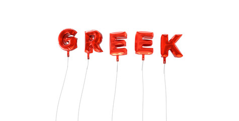 GREEK - word made from red foil balloons - 3D rendered.  Can be used for an online banner ad or a print postcard.
