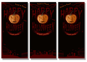 Halloween design set. Black poster with lettering - Happy Halloween. Trick or treat. Jack-o'-lantern on a background of cemetery