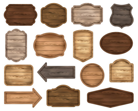 Wooden stickers, label collection. Set №2 of various shapes wooden sign boards for sale, price and discount banners, badges isolated on white background. Vector realistic illustration.