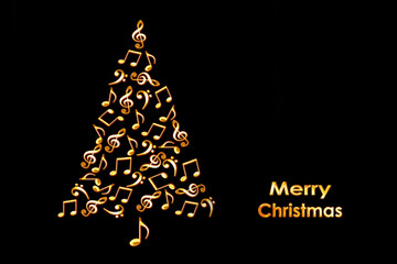 Christmas card with a Christmas tree made of shiny golden musical notes on black background