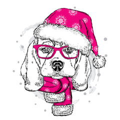 Cute puppy in a Christmas hat and scarf. Vector illustration. Beagle. New Year's and Christmas.