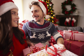 Loving couple during the Christmas