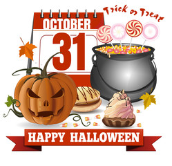 Halloween calendar, jack-o'-lantern and a caldron with candies. Trick or treat. Happy Halloween. Greeting card for