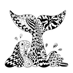 Hand drawn zentangle waves and whale tail1