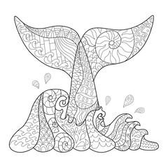 Hand drawn zentangle waves and whale tail