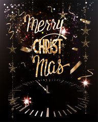 Merry christmas greeting card with clock, garlands and confetti