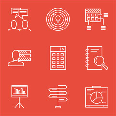Set Of Project Management Icons On Analysis, Innovation And Discussion Topics. Editable Vector Illustration. Includes Making, Personal And Budget Vector Icons.