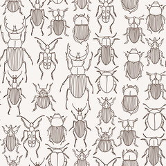 seamless pattern with hand-drawn bugs