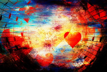 beautiful collage with hearts and music notes, symbolizining the love to music.