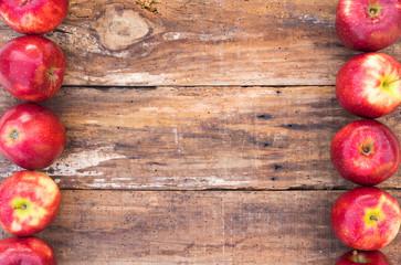 Fototapete - Äpfel Holz Hintergrund Früchte Rot