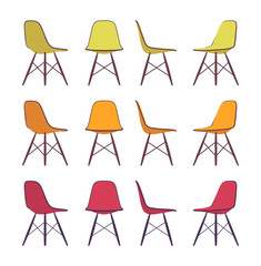 Set of chairs shown from different positions, different colours. Cartoon vector flat-style illustration