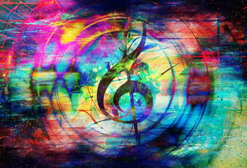 beautiful abstract colorful collage with music notes and the violin clef in space.