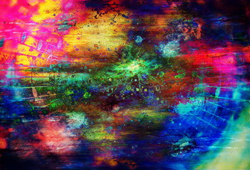 music notes and music lines comming out from the spot, multicolor graphic collage.
