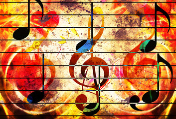 abstract set of music clefs and lines with notes, music theme graphic collage. Fire effect.