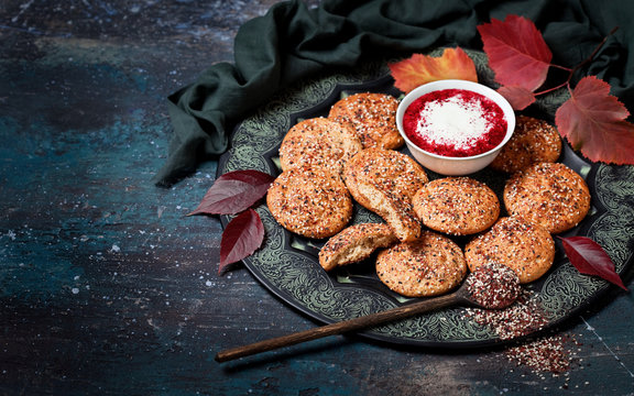 Flatbread with zaatar and yoghurt with sumac, selective focus