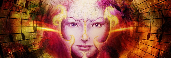 beautiful face of mystical being with music notes, symbol of the muse of music with phoenix birds sign on head in space.