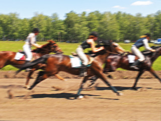 horse racing competition race at high speed,blur image abstract