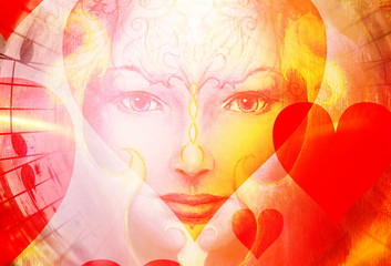 beautiful face of mystical being with music notes, hearts and birds on woman face, symbol of the muse of music.