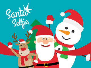 santa claus taking selfie with christmas deer and snowman