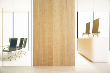 Office with blank wooden wall