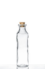 empty olive oil container bottle on white background