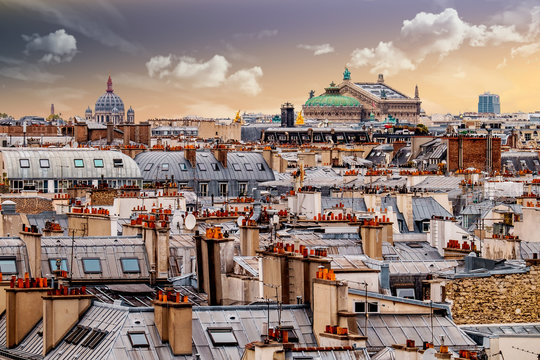 Overview of Paris from Pompidou Center with roof tops.France.