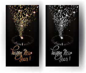 New Year greeting cards with abstract sparkling clock