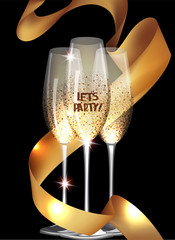 Party invitation card with sparkling glasses and gold curly ribbon