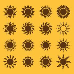 The sun set of 16 icon. Sunrise and sunshine, weather, sun symbol