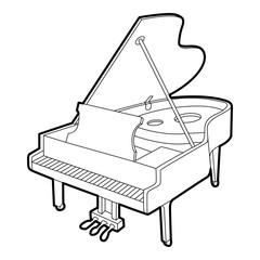 Grand piano icon. Outline isometric illustration of grand piano vector icon for web